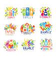 family colorful labels original design set of vector image