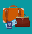 leather luggage case carryon bag near travelling vector image