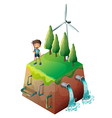 A boy holding a bow at the top of the drainage vector image vector image