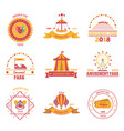 amusement park emblems set vector image vector image
