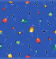 beetles and bugs pattern on blue background vector image vector image