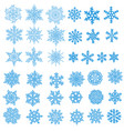 big set of snowflakes holiday collection blue vector image vector image