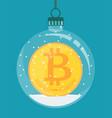 bitcoin inside christmas decoration vector image