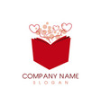 book heart logo vector image vector image