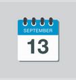 calendar icon day 13 september template date days vector image vector image