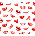 cartoon smiling lips seamless pattern laughing vector image vector image