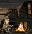 cartoon soldier roasting meat on a fire while vector image vector image