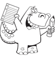 Cartoon Student Dinosaur vector image vector image