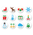 Christmas winter colorful icons set as round label vector image vector image