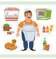 clipart with street food seller character vector image vector image