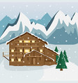 cozy wooden chalet in the mountains vector image