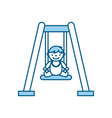 cute boy baby on swing avatar character vector image