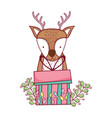 Cute christmas reindeer with wreath and gifts