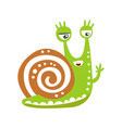 cute snail character waving its hand funny vector image vector image
