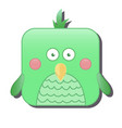 cute square green bird isolated on white vector image