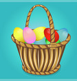 easter basket with eggs happy easter vector image vector image