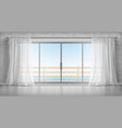 empty room with glass door to balcony and curtains vector image