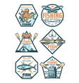 fishing sport badges and icons with fish and hook vector image vector image