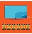 Flat 8K screen with set of HD stickers vector image
