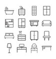 furniture icons set flat on white background vector image vector image
