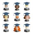 graduation man and woman icons vector image vector image