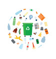 green trash bin with recycle symbol surrounded by vector image