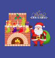greeting santa holding bag near fireplace vector image