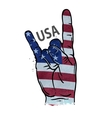 hand gesture cool rock and roll flag of USA vector image vector image