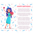 happy birthday poster woman with glass of wine vector image vector image