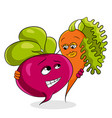 healthy vegetables beets and carrots concept vector image