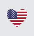 heart of the usa flag colors vector image
