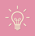 line silhouette light bulb on pink background vector image