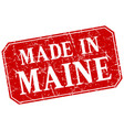 made in maine red square grunge stamp vector image vector image