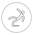 man slip fall icon black color in circle isolated vector image