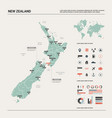 map new zealand country map with division vector image