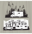 motor homes vans caravans mobile homes trailer vector image vector image