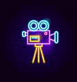 movie camera neon sign vector image vector image