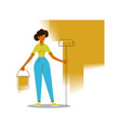 painter woman with roller vector image