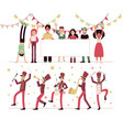 parade people with musical instruments marching vector image