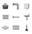 plumbing repair icons set cartoon style vector image vector image