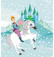 Prince riding a horse to the princess on a winter vector image vector image