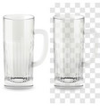 realistic transparent beer glass alcohol vector image