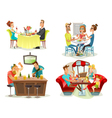 Restaurant Cafe Bar People 4 Icons vector image vector image