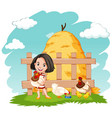 scene with happy girl and chickens on farm vector image vector image