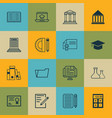 set of 16 education icons includes chemical e vector image vector image
