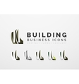 Set of real estate or building logo business icons vector image vector image