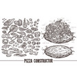set sketch elements components for pizza vector image vector image