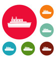 ship travel icons circle set vector image