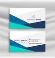 simple geometric blue business card design vector image vector image