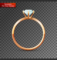 single gold wedding diamond ring vector image